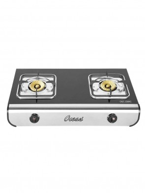 Ocean OGC2305C Double Burner Gas Stove – Black and Silver