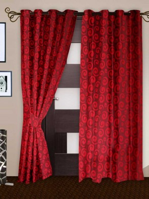 Door Curtain 7 ft 2 Pcs Maroon 0011