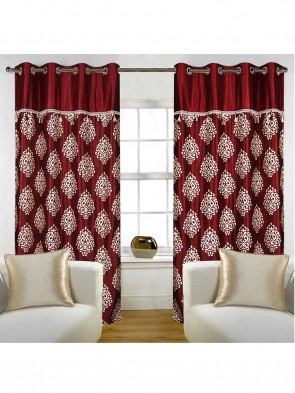 Door Curtain 7 ft 2 Pcs Maroon 0014