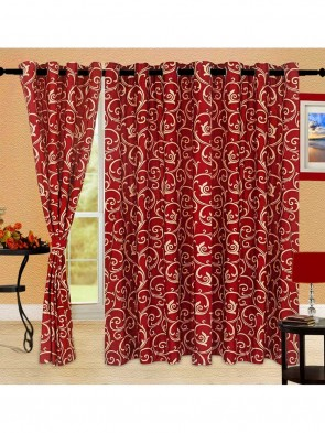 Door Curtain 7 ft 2 Pcs Maroon 0016