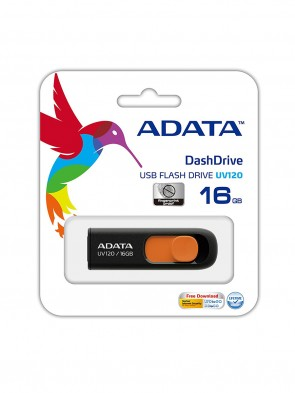 A DATA UV120 16GB BLACK & ORANGE PEN DRIVE
