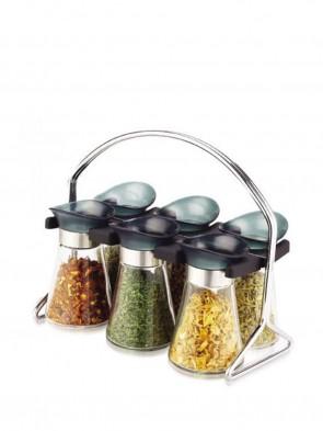 6 Jars Spice Rack Set
