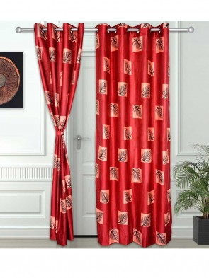 Door Curtain 7 ft 2 Pcs Maroon 0010
