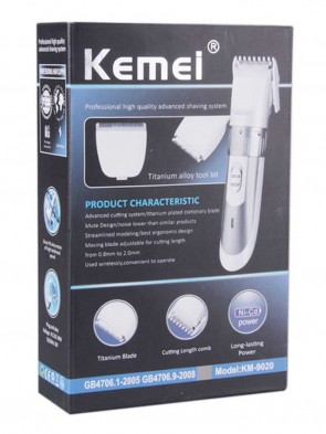 KEMEI KM-9020 Electric Hair Trimmer Clipper Chargeable Battery