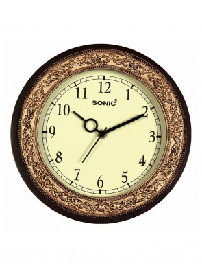 SONIC Brown round Plastic Analogue Clock 0010